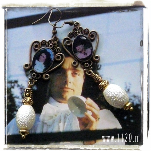 Peter Greenaway Tribute The Draughtsman's Contract altered art earrings